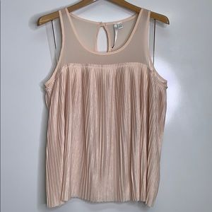 LAUREN CONRAD • Blush Pleated Sheer Blouse Top